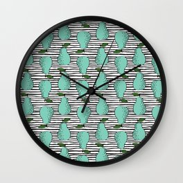 Pear stripes fruit pattern by andrea lauren pears home decor illustration food art Wall Clock
