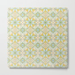 Yellow Lisbon Tile Geometric Print Metal Print