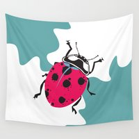 ladybug Wall Tapestries featuring Ladybug by Kate