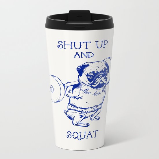 Pug Squat Metal Travel Mug