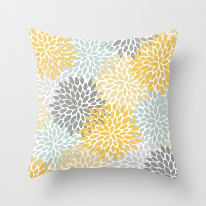 Floral Pattern, Yellow, Pale, Aqua, Blue and Gray Throw Pillow by