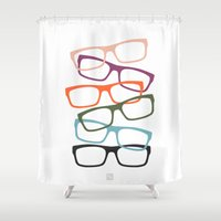 frames Shower Curtains featuring Stacking Frames by Tavia Lawrence
