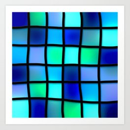 Blue and Green Tiles Art Print