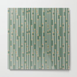 Dotted Lines in Cream, Orange on Olive Green Metal Print