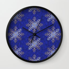 Primitive Gold Snowflakes on Royal Blue Wall Clock