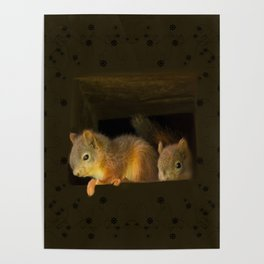Young squirrels peering out of a nest #decor #buyart #society6 Poster