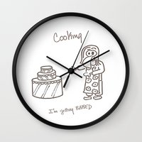 cooking Wall Clocks featuring Cooking by Clifford Allen