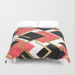 Chic Coral Pink Black and Gold Square Geometric Duvet Cover