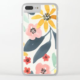 Colorful Mystical Watercolor Floral Plant Pattern Pink Orange Flowers Mint Green Navy Blue Leaves Clear iPhone Case