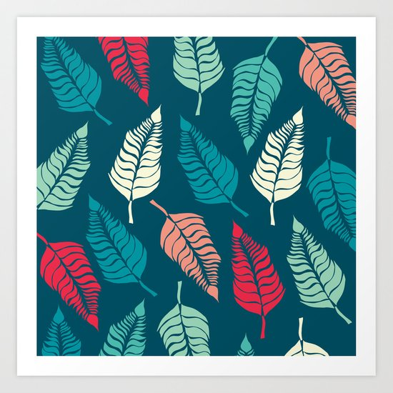 Leave Me Indigo Multi (Aqua Red) Art Print