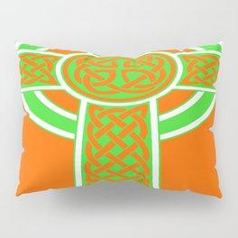 St Patrick's Day Celtic Cross Green and White Pillow Sham