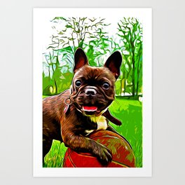 french bulldog basketball vector art Art Print