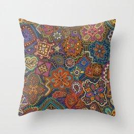 Crewel Jewel Floral by Nettwork2Design Nettie Heron-Middleton Throw Pillow