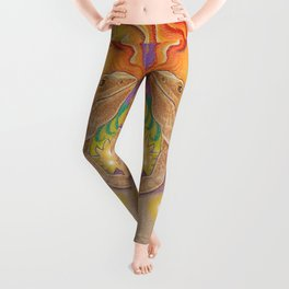Sun And Dragon, Bearded Dragon Art Leggings