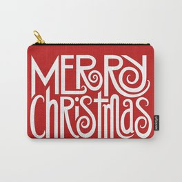 Merry Christmas Text White Carry-All Pouch