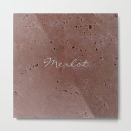 Merlot Wine Red Travertine - Rustic - Rustic Glam Metal Print