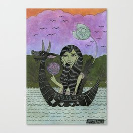 Girl in a Small Creature Boat Canvas Print