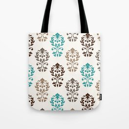 Heart Damask Art I Browns Teal Cream Tote Bag