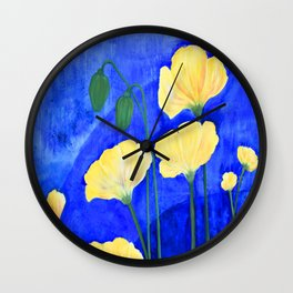 Yellow Poppies Wall Clock