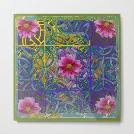 LILAC PURPLE YELLOW CELTIC PINK FLORAL ART PATTERN Metal Print