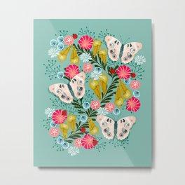 Buckeye Butterly Florals by Andrea Lauren  Metal Print