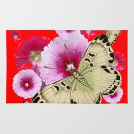 CHINESE RED BUTTERFLIES & PINK HOLLYHOCKS ART Rug