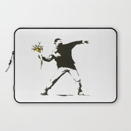 Banksy - Man Throwing Flowers - Antifa vs Police Manifestation Design For Men, Women, Poster Laptop Sleeve