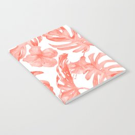 Tropical Hibiscus and Palm Leaves Dark Coral White Notebook