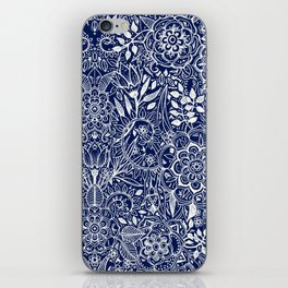 Detailed Floral Pattern in White on Navy iPhone Skin