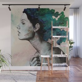 Moral Eclipse (colorful hair woman with moths tattoos) Wall Mural