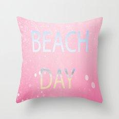 Pink Beach Day  Throw Pillow