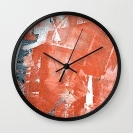 Interrupt [1]: a pretty minimal abstract acrylic piece in pink white and blue by Alyssa Hamilton Art Wall Clock