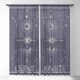 The Hermite or L'Ermite Tarot Sheer Curtain