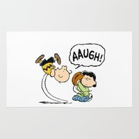 charlie brown Area & Throw Rugs featuring Charlie Brown Foot Ball by PSimages