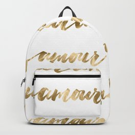 Amour French Love Script Gold Typography Pattern Backpack
