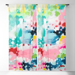 Colorful Fantasy Neon Rainbow Abstract Art Acrylic Painting Fluffy Pastel Clouds by Ejaaz Haniff Blackout Curtain