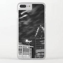 Downtown Detroit nder Fall Moonlight Clear iPhone Case