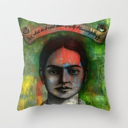 Wings to Fly, a portrait of Frida Kahlo Throw Pillow
