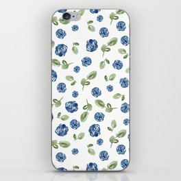 Blue Florals // Hand Painted Watercolors // Deep Blue and Leaf Green iPhone Skin