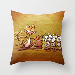 Cat Choosing a Mouse by Drawing the Short Straw Throw Pillow