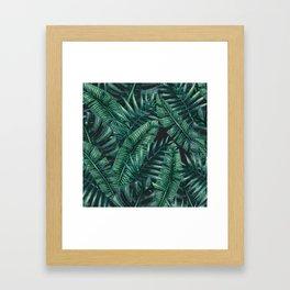 Palm and Banana Leaf Tropical Pattern Framed Art Print