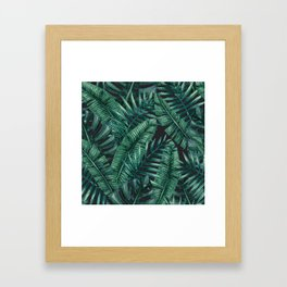 Palm and Banana Leaf Tropical Pattern Framed Art Print