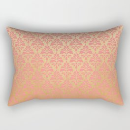 Modern chic coral faux gold floral elegant damask Rectangular Pillow
