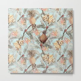 Vintage & Shabby Chic - Teal Pineapple Banana Tropical Summer Garden Metal Print