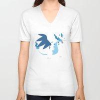 charizard V-neck T-shirts featuring Mega Charizard X PKMN by Rebekhaart