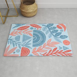 Blue Geometric Botanicals Rug