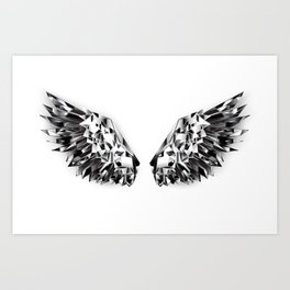 Black Mirror Wings Art Print