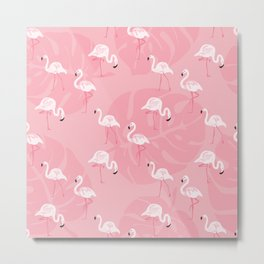 Pink flamingos and tropical leaves hand drawn on pink background illustration pattern. Hawaiian collection Metal Print