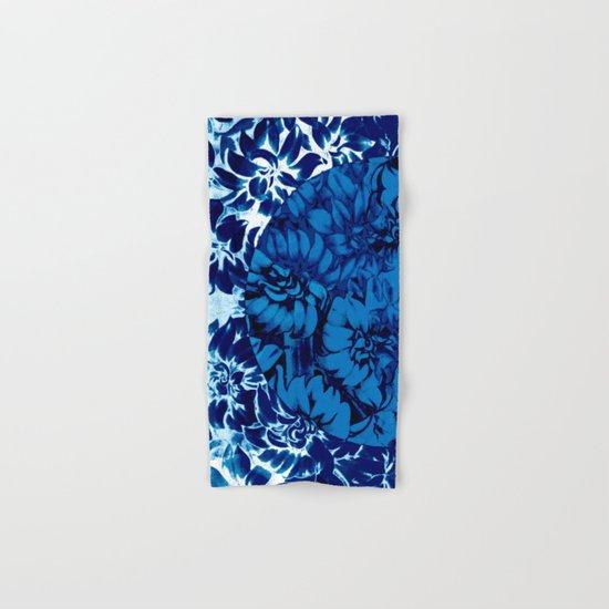 blue floral circle on blue floral Hand & Bath Towel