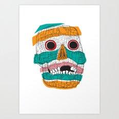 Stripy Skull  Art Print